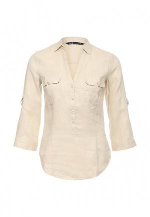 Рубашка oodji. Цвет: бежевый