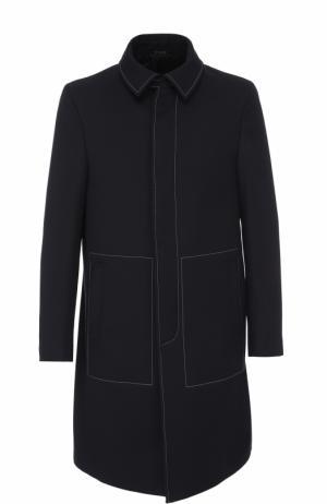 Шерстяное однобортное пальто с контрастной прострочкой Fendi. Цвет: темно-синий