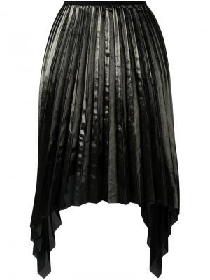 Асимметричная плиссированная юбка Ssheena. Цвет: зелёный