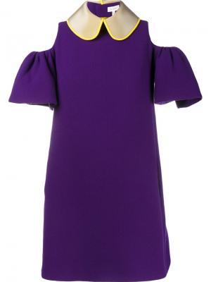 Мини-платье с вырезами на плечах Delpozo. Цвет: розовый и фиолетовый
