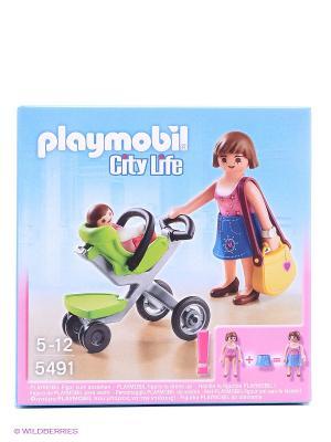 Торговый центр Покупательница с ребенком в коляске Playmobil. Цвет: голубой, розовый