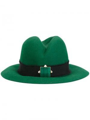Шляпа-федора с поделочным камнем Eshvi. Цвет: зелёный