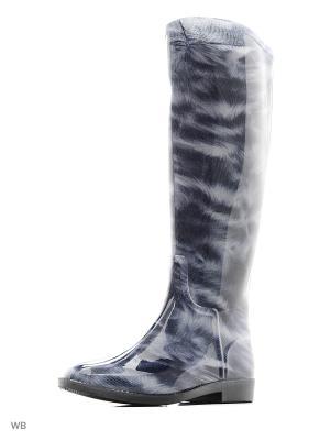 Резиновые сапоги ANRA. Цвет: темно-синий, серый