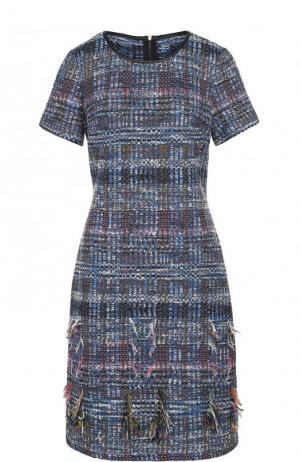 Приталенное буклированное платье-миди St. John. Цвет: синий
