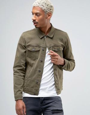 ASOS Зауженная джинсовая куртка цвета хаки. Цвет: зеленый