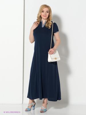 Платье MONDIGO. Цвет: темно-синий, белый