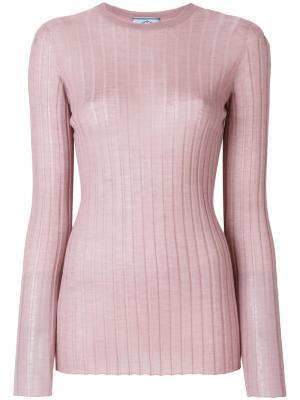 Свитер в рубчик с круглым вырезом Prada. Цвет: розовый и фиолетовый