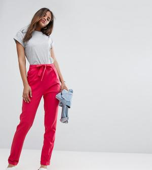 ASOS Tall Тканые брюки‑галифе с поясом оби. Цвет: розовый