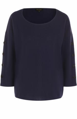 Пуловер с круглым вырезом и укороченным рукавом Escada. Цвет: темно-синий