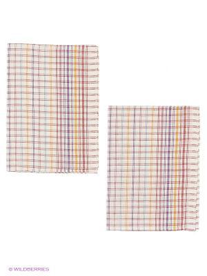 Набор полотенец лен Метиз. Цвет: белый, красный