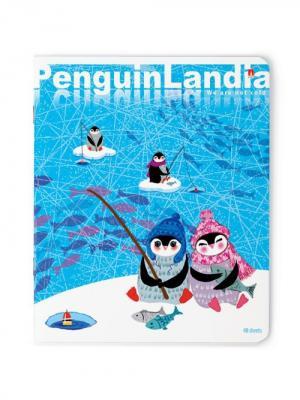 Тетрадь 48л.  веселые пингвины 5 видов Альт. Цвет: голубой