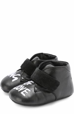Кожаные пинетки с вышивкой и застежкой велькро Dolce & Gabbana. Цвет: черный
