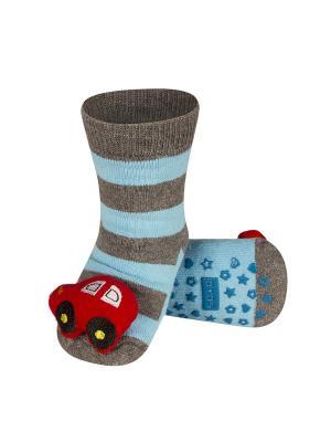 Носки детские с игрушкой Soxo. Цвет: серый, голубой