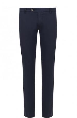 Хлопковые брюки прямого кроя Berwich. Цвет: темно-синий
