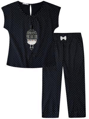 Пижама Oodji. Цвет: темно-синий, темно-серый