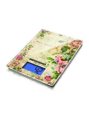 Весы кухонные REDMOND RS-736 (Цветы). Цвет: зеленый, бежевый, бледно-розовый