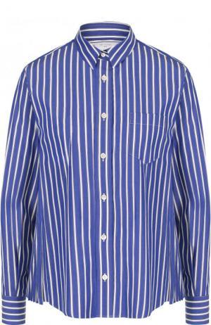 Хлопковая блуза свободного кроя в полоску Sacai. Цвет: синий
