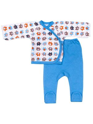 Комплект Распашонка и ползунки слоники DAISY. Цвет: голубой, белый, темно-бежевый
