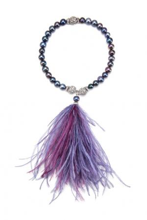 Жемчужный браслет-чокер «Журавль» Esve. Цвет: фиолетовый