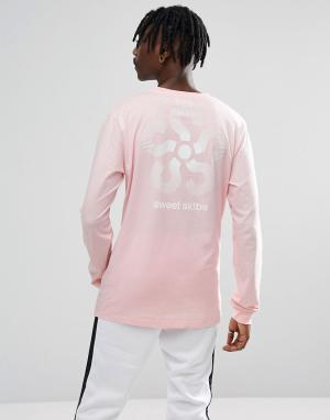 Sweet Sktbs Розовый лонгслив с принтом на рукавах. Цвет: розовый