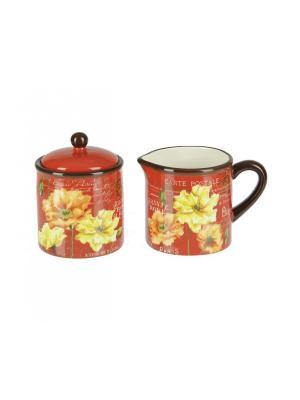Набор для чаепития Certified International. Цвет: темно-красный, бежевый, малиновый