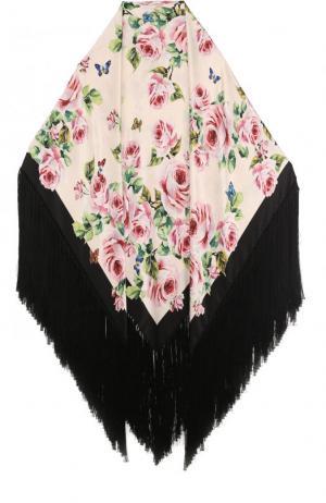 Шаль из смеси шелка и вискозы с принтом бахромой Dolce & Gabbana. Цвет: розовый