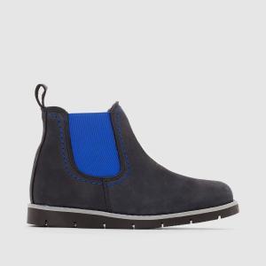 Ботинки кожаные, размеры 26-39 La Redoute Collections. Цвет: синий морской