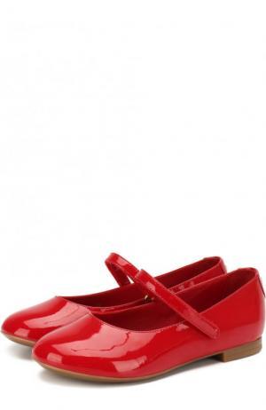 Лаковые балетки с застежками велькро Dolce & Gabbana. Цвет: красный