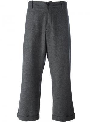 Укороченные широкие брюки YMC. Цвет: серый