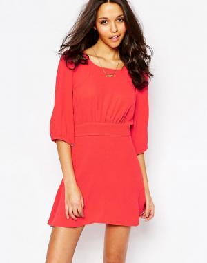 BA&SH Красное платье свободного кроя Stella. Цвет: красный