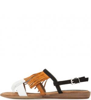 Замшевые сандалии с бахромой UNISA. Цвет: мультиколор
