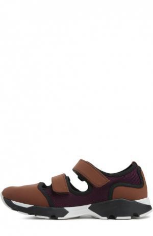 Комбинированные кроссовки с застежкой велькро Marni. Цвет: коричневый