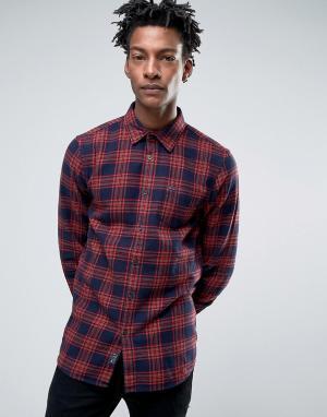 Jack Wills Сине-красная фланелевая рубашка классического кроя в клетку тартан Jac. Цвет: красный