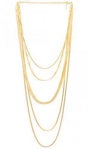 Ожерелье cascading snake chain Luv AJ. Цвет: металлический золотой