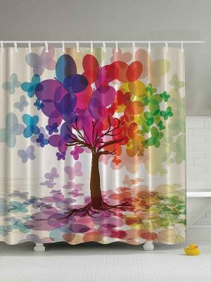 Фотоштора для ванной Волшебные бабочки, 180*200 см Magic Lady. Цвет: синий, зеленый, красный