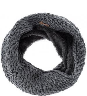 Шарф-хомут крупной вязки серого цвета HERMAN. Цвет: серый