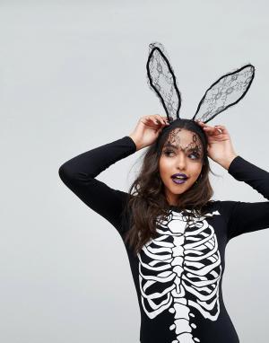Missguided Вуалетка с кружевными заячьими ушками Halloween. Цвет: черный