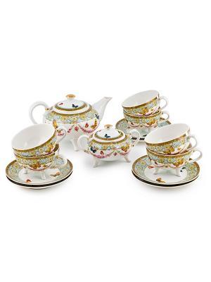 Чайный сервиз на 6 персон Italy Design Elff Ceramics. Цвет: голубой