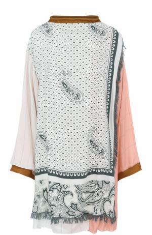 Удлиненная блуза свободного кроя с принтом и бахромой Acne Studios. Цвет: светло-зеленый