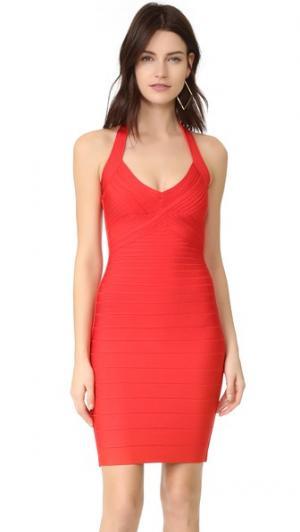 Платье Adrienne с американской проймой Herve Leger. Цвет: алый мак
