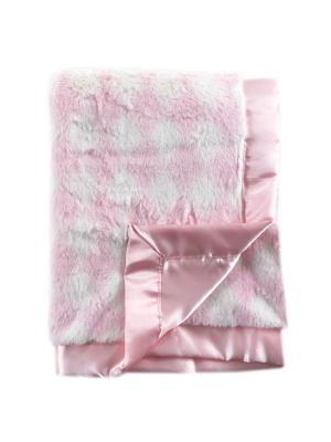 Плюшевый плед на атласной подкладке Ромбики Hudson Baby. Цвет: розовый