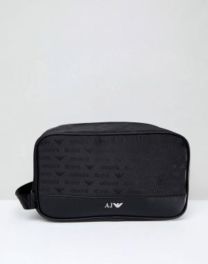 Armani Jeans Черный нейлоновый несессер с логотипом. Цвет: черный