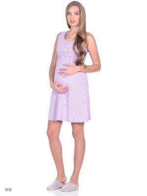 Ночная сорочка для беременных и кормящих ФЭСТ. Цвет: сиреневый, белый