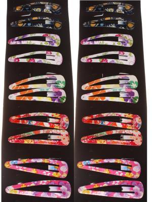 Заколки для волос клип-клап мелкие, в черно-фиолетовый крупный цветок, набор 20 штук Радужки. Цвет: черный, фиолетовый