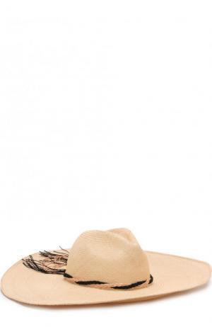 Соломенная шляпа с плетеной тесьмой Artesano. Цвет: кремовый