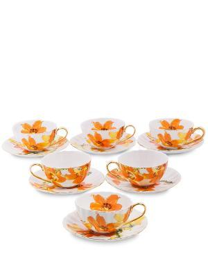 Чайный н-р на 6 перс. Фиор Элеганта (Pavone) Pavone. Цвет: белый, оранжевый