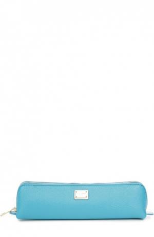 Кожаный пенал на молнии Dolce & Gabbana. Цвет: синий