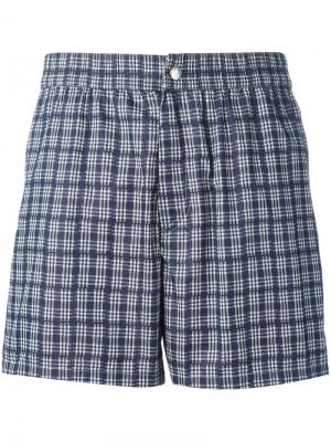 Пляжные шорты в клетку Brioni. Цвет: синий
