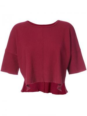 Укороченная футболка вафельной вязки Daniel Patrick. Цвет: красный
