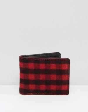 Racing Green Красно-черный бумажник в клетку. Цвет: красный